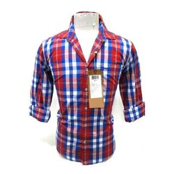 Punit Polyfab Cotton Collar Checked Mens Shirts, Packaging Type: Packet, Machine, Hand Wash
