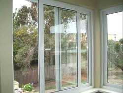 Oak Toughened Glass UPVC Sliding Door