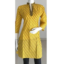 Yellow Polka Dot Cotton Printed Kurti