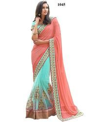 Georgette Net Embroidery Saree