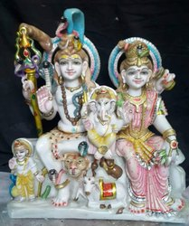 Lord Shiva Parivar Marble Statue