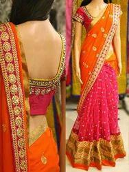 Orange Casual Wear Designer Embroidered Sarees