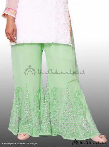 04ba40d1ee The Chikan Label Pure Georgette Chikankari Green Gota Patti Sharara Garara  Palazzo