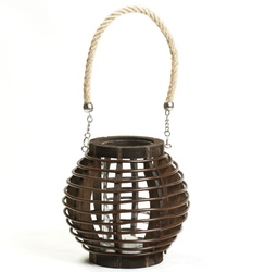 Brown Basket Design Lantern With A Rope Handle