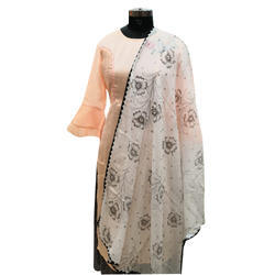 Printed Cotton Dupatta With Floral