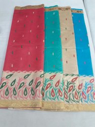 Casual Wear Cotton Embroidery Sarees, 5.5 m (separate blouse piece), With Blouse Piece