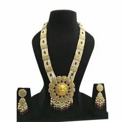 Gold Natural Uncut Diamond Polki Jadau Rani Haar