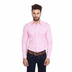 Pink Checked Mens Formal Shirt