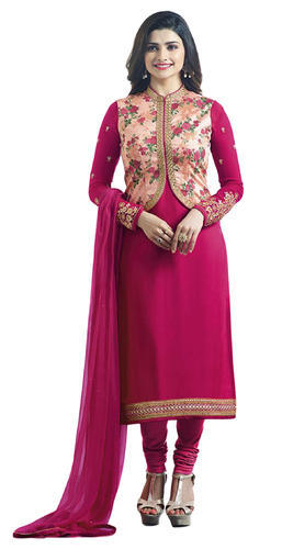 e8b7d831431 Women s Dark Pink Party Wear Semi-Stitched Koti Style Salwar Kameez ...