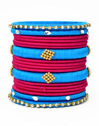 Blue and Red Silk Thread Bangle