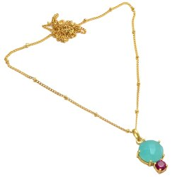 Aqua Chalcedony & Pink Cz Gemstone Gold Plated Necklace