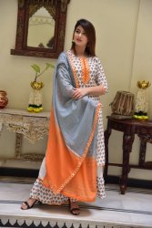 Party Wear Straight Designer Kurti With Skirt, Wash Care: Machine wash