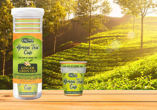 Gruner Green Tea Cup 15 Pcs Ginger Flavor, Packaging Type: Plastic Jar Bottle