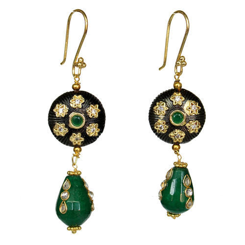 Black Polished Kundan Earring