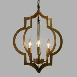 Candle-Style LED Brass 4 Candle Hanging Chandelier