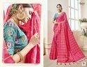 ethnic Stylish PInk Designer plain Saree