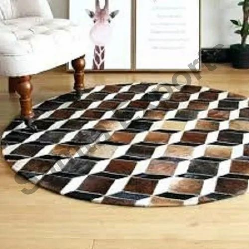 Plain Rectangular Round Leather Carpet for Home