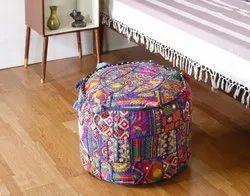Khambadiya Patchwork Ottoman Pouf Cover