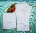 Marriage Invitation Card Design Rectangle Door Opening With Embossed Self Design And White Ribbon