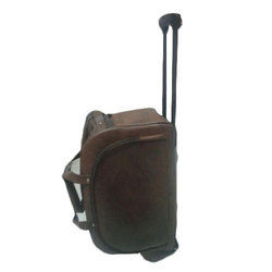 Brown Luggage Leather Trolley Bag