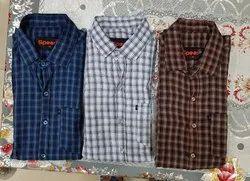 Casual Wear Cotton Men Check Shirt