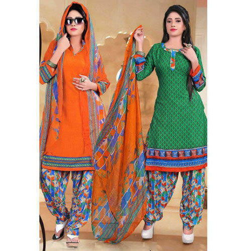 3a5d4f92be Cotton Casual Wear Green And Orange Salwar Suit, Rs 339 /piece | ID ...