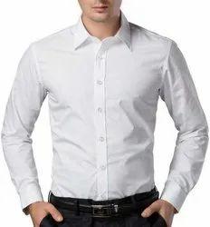 Cotton Blanded Plain Formal White Shirt for Men