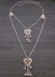 Hippie Goth Style Heart Pendant Charm Chain Necklace
