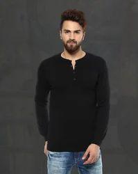Black Flatknit With Henley Collar MSK-4154-E T-Shirt
