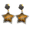 Tiger Eye Pave CZ Set Gemstone Earring