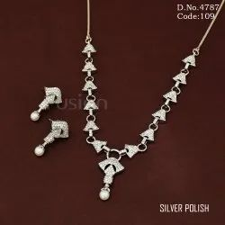 Cubic Zircon American Diamond Necklace Set