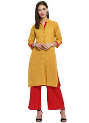 Spoorthi Women's South Cotton Solid Straight Kurta