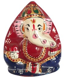 Nirmala Handicrafts Metal Coconut Ganesha Statue Enamel Work Indian God Idol Sculpture
