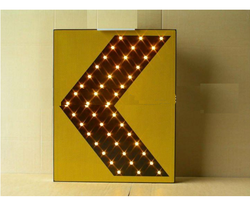 Metal Yellow And Black Solar Chevron Moving Sign, Shape: Rectangle