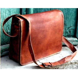 Leather Flip Flap Messenger Laptop Bag