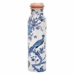 White Bird Meena Print Copper Bottle