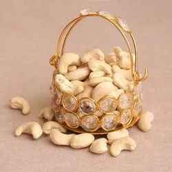 Iron Gold Plated With Crystal Dry Fruit Small Basket For Return Gift