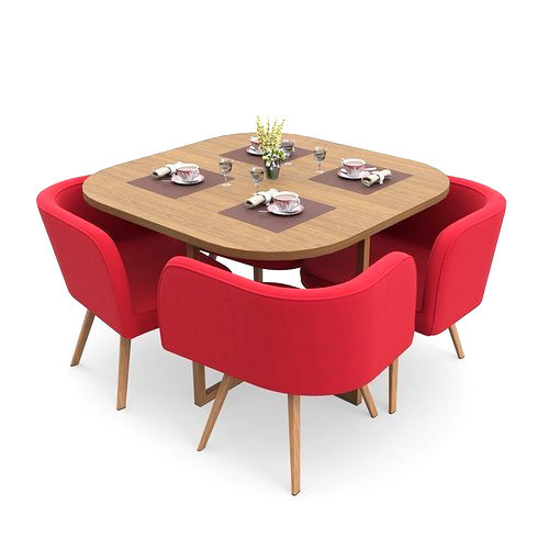 Red And Brown Compact Dining Set