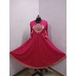 Pink Stitched Round Neck Embroidered Kurti