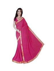 Shubham Fashion Lehariya Saree Design Chiffon Saree (Pink) With Blouse Piece