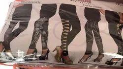 Casual Wear Cotton Lycra Ladies Black Printed Leggings, Size: XL