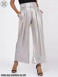 Metallic Silver Trousers for Women
