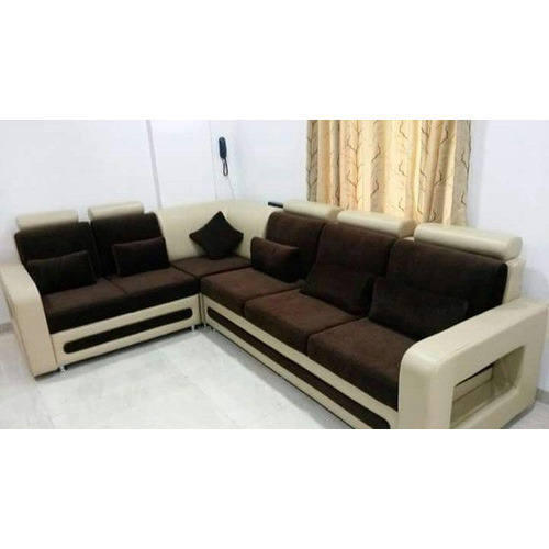 Modern Chairs Top 5 Luxury Fabric Brands Exhibiting At: Wood And Leather L Shape Sofa, Warranty: 1 Year, Rs 37000