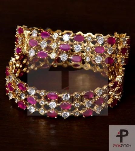 1cf15f99315 Pink Pitch Ruby and American Diamond Embellished Pair of Designer Bangles  BD259