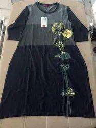 Woolen Full Sleeve Casual Printed Kurti