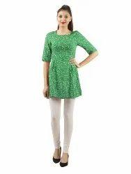 Ladies Printed Green Pouf Dress