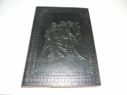 Camel Embossed Black Leather Journal