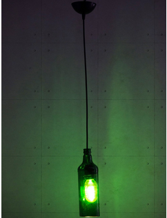 Glass Green Bottle Hanging Pendant Light