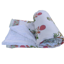Jaipuri Designs Multicolor Hand Block Printed Cotton Quilt, Size: 6 X 9 Feet