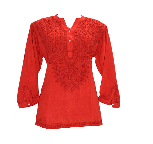 31e91fde6f Lucknowi Chikankaari Red Kashmiri Cotton Short Kurti, Cashmere Kurti ...